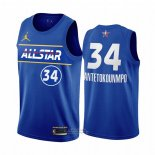 Maglia All Star 2021 Milwaukee Bucks Giannis Antetokounmpo #34 Blu